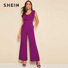 Elegant Skinny Jumpsuits Australia - Purple Tie Neck Ruffle Foldover Wide Leg Plain Jumpsuit Women Spring Elegant Scoop Neck High Waist Maxi Jumpsuits C19041001