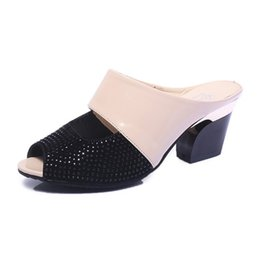 red evening shoes 2019 - Women Shoes Summer Peep Toe Slides Party Evening Chunky square high Heels Slipper Crystal Ladies Slides lady fashion san