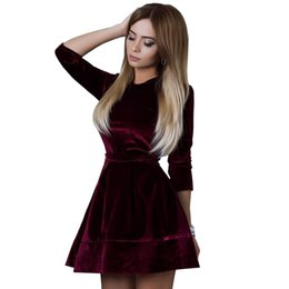 7974bebf438a Women Retro Korean Velvet Dress Autumn And Winter Casual Three Quarter  Sleeve Pink Color Bottom Dresses Hot Sale
