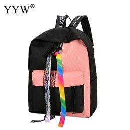 $enCountryForm.capitalKeyWord NZ - Canvas Load Reduction School Bags For Teenage Girls Backpack Women New 2018 Contrast Color Women Casual Large Capacity Rucksack