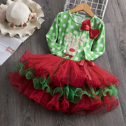 $enCountryForm.capitalKeyWord Australia - 2019 fall winter girls christmas dresses kids boutique clothing baby girl polka dot dress childrens ruffle tutu dresses green red clothes