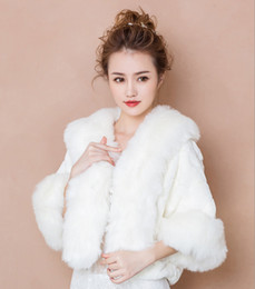 white stole fur bridal UK - New Faux Fur Bridal Shrug Wrap Cape Stole Shawl Bolero Jacket Coat Perfect For Winter Wedding Bride Bridesmaid Free Shipping Real Image