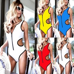$enCountryForm.capitalKeyWord Australia - 4 Colors Zipper Conjoined Bikini Sexy Backless Swimsuit One Piece Woman Bathing Suits Swimwear Wading Exercise With Chest Pad A0725
