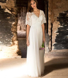 $enCountryForm.capitalKeyWord Australia - Modern Lace Beach Wedding Dress Sexy High Waist A Line Draped Tulle Appliques Brid Wedding Gowns with Illusion Cap Sleeve