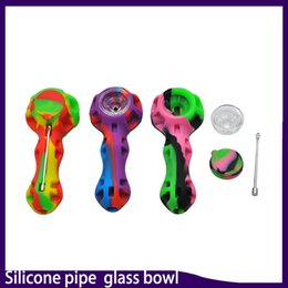 Glass hand oil riGs online shopping - Silicone pipe smoking pipe Hand Spoon Pipe Hookah Bongs multi Colors silicone oil dab rigs with dab tool VS twisty glass blunt