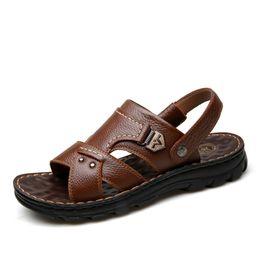 size 44 sandals 2019 - Men'S BIG Size 38-44 Summer Sandals Hot Sale Brand Leather Casual Sandals Slip-On Flats Fashion Two-Wear soft Men F