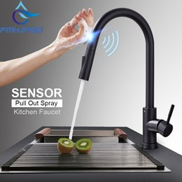 Stainless Pull Handles Australia - Stainless Steel Sensor Kitchen Faucets Black Touch Inductive Sensitive Faucet Mixer Tap Single Handle Dual Outlet Water Modes