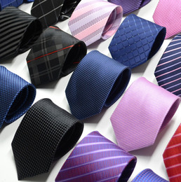 Wholesale New Formal Ties For Men Classic Polyester Woven Plaid Dots Party Necktie Fashion Slim Wedding Business Male Casual