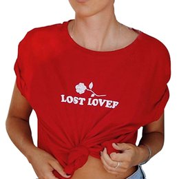 flower girl tee shirts 2019 - Women's Tee Lost Lover Rose Flower Printed Summer T Shirts Girls Female Casual Red Black Tops T-shirt Women Short S