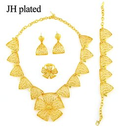 $enCountryForm.capitalKeyWord Australia - JHplated Fashion Flower Jewelry Sets wedding gift Gold Color for Women girl in the Middle East of Africa Party Jewelry