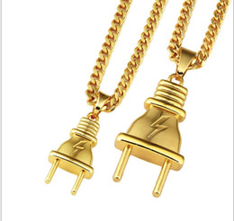plug coupling Australia - Newest Jewelry Metal 18K Goldon Plated Plug Pendants Twist Chain Necklace Hipsters Hip Hop Jewelry Men Women Lovers Bijoux Couple Joyas