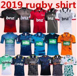 Venta al por mayor de 2018 2019 CRUSADERS 2018/19 Camiseta de Jefes Super Rugby 18 19 Nueva Zelanda súper Chiefs Blues Crusaders Highlanders camisetas de entrenamiento TAMAÑO: S-3XL