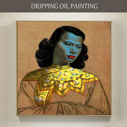 $enCountryForm.capitalKeyWord UK - Pure Hand-painted Chinese Girl Tretchikoff Vintage Oil Painting on Canvas Reproduce Famous Chinese Girl Portrait Oil Painting
