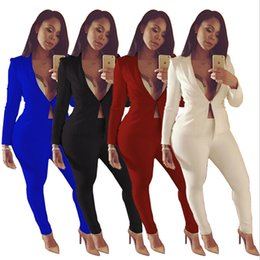 $enCountryForm.capitalKeyWord Australia - 2019 Autumn Office Lady Business Suit Two 2 Piece Sets Long Sleeve Formal Blazer Jacket & pencil Pant suit sexy clubwear elegant