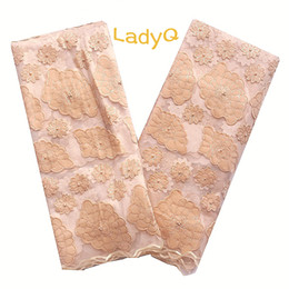 EmbroidErEd lacE yard online shopping - Velvet Embroidered Nigerian Cord Lace Fabric High Quality Laces Gold Wedding Lace Fabric Yard African Beaded Lace French