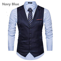 $enCountryForm.capitalKeyWord Australia - 2018 New Arrival Dress Vests For Men Slim Fit Vests Male Waistcoat Gilet Homme Casual Sleeveless Notched Lapel Business