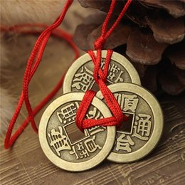 Discount luck coins Chinese Lucky Coins Ancient Good Luck Feng Shui Pendant Fortune Money Necklace hot