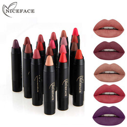 Lip matte 24 coLors online shopping - DHL NICEFACE colors Lipstick Pencil Cosmetics Matte Lips Pigment Nude Lipstick Long Lasting Matte Lipstick Pencil Makeup