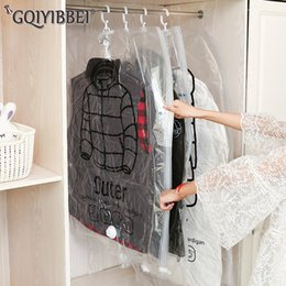 Packing Clothes For Storage NZ - GQIYIBBEI Hanging Transparent Vacuum Storage Bag For Clothes Organizer Saver Space Holder Folding Bags Pack Garment Dustproof C18112801