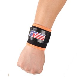 $enCountryForm.capitalKeyWord UK - Free Shipping SX598-O Wrist Joint Brace Support Wrap Band Sports Badminton Elastic Stretchy Silicone Pressure - Orange Black