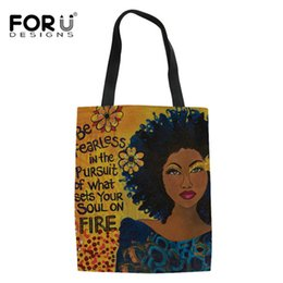 $enCountryForm.capitalKeyWord UK - FORUDESIGNS Art Afro Lady Girls Printing Canvas Reusable Shopping Bag Women Foldable Grocery Casual Totes Bags In Stock Sale