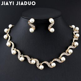 jewelry dropshipping Australia - whole salejiayijiaduo African bridal gold-color jewelry set imitation pearl for women necklace earring set wedding gift party dropshipping