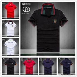 $enCountryForm.capitalKeyWord Australia - 2019 iduzi 19sa Brand Hot Cotton Striped Polo Shirts Turn-down Collar Shorts Sleeve Shirt Hot Sales Red Blue Brown Men's Polo Shirts