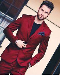 $enCountryForm.capitalKeyWord Australia - New Arrival Handsome Wine Red Men Wedding Prom Dinner Suits 2 Pieces Groomsman Tuxedos Blazer Masculino Best Man Suit