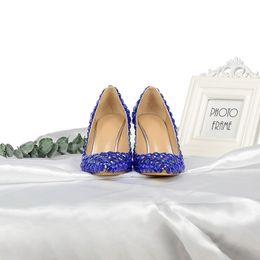 d33b08ef8e77 2019 Top Quality Royal Blue Rhinestone High-heeled Ladies Patent Leather  Dress Single Shoes Designer Women Pointed Toe Heels Sandals 8cm