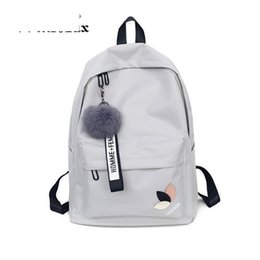 Factory Outlet Women Teenage Schoolbag Fashion Fur Ball Girls Backpack  College Female High School Student Printing Back Pack Bag efd5be9b804dc