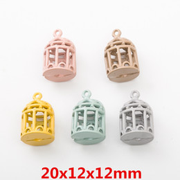 birdcage pendants Canada - 100pcs DIY Alloy metal vintage birdcage charms Painting Paint color pendants Jewelry Parts Multicolor fashion Handmade Accessories Material