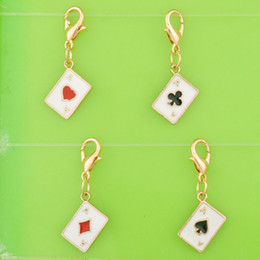 $enCountryForm.capitalKeyWord Australia - DIY metal dangle handmade enamel playing card poker charms with clasp pendants for bracelet necklace earring jewelry making