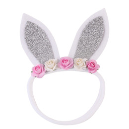 $enCountryForm.capitalKeyWord Australia - Naturalwell Newborns Silver Bunny Ears Kids Headband nylon Bandage Easter Girl Christening Headband Bunny Ears Accessory