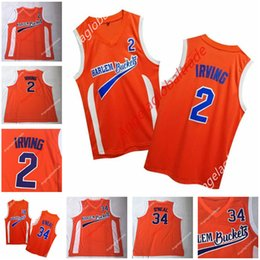 c202bd794e6 Men s Uncle Drew Costume Kyrie 2 Irving Jersey Harlem Buckets Movie Film Orange  jersey Stitched Shaquille 34 O Neal basketball shirts