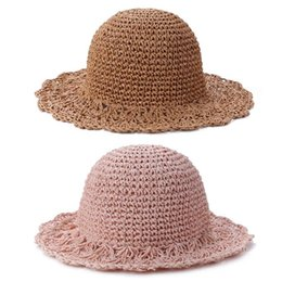 $enCountryForm.capitalKeyWord UK - Solid Color Hand Crocheted Straw Hat Girl Beach Sunscreen Princess Hat Children'S Travel Visor Straw Sun Seaside Beach Cap