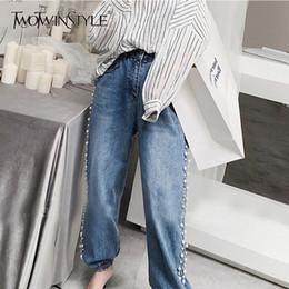 $enCountryForm.capitalKeyWord Australia - TWOTWINSTYLE Korean Pearls Patchwork Jeans Women High Waist High Waist Plus Size Denim Trousers For Women 2019 Fashion Tide