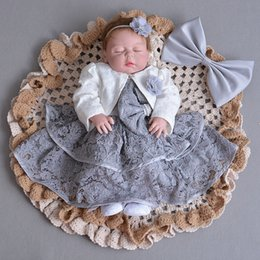 Years old babY girl dresses online shopping - Gray Baby Girl Dresses Jacket Angel Year Old Birthday Party Vestido Infant Toddler Baby Girls Clothes For Month Y19061001