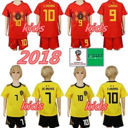 51ec68db7 World Cup 2018 Soccer Belgium Youth Jersey 9 Romelu Lukaku 14 Dries Mertens  8 Marouane Fellaini Football Shirt Kids Kits With Short Pant