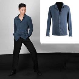 Samba clothing online shopping - Ballroom Latin Dance Shirts Men Long Sleeve Comfortable Cotton Dance Tops Adult Clothes For Salsa Samba Costumes PY211