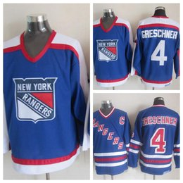 a8acf8a3f 1986 Vintage 100% Embroidery #4 Ron Greschner Jerseys Mens Cheap 4 New York  Rangers Ron Greschner Hockey Stitched C Patch