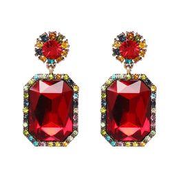 $enCountryForm.capitalKeyWord NZ - Trendy Luxury Full Crystal Square Earrings Alloy Big Acrylic Geometry Pendant Drop Earring for Women Wedding Party Gift