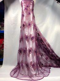 $enCountryForm.capitalKeyWord Australia - Wholesale High Quality Latest Mesh 3D Flower African Lace Fabrics 2018 PURPLE Textile Lace Fabric beads For Garment Dress