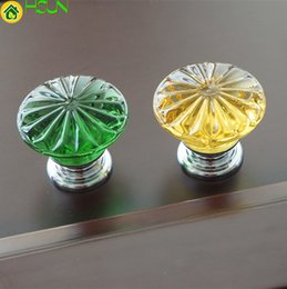 Chrome Crystal Cabinet Pulls Australia - Flower Crystal Drawer Knobs Pull Handles Dresser Pulls Gold Glass Look Yellow Green Kitchen Cabinet Door Handle Modern Style
