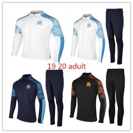Wholesale New adult set Olympic Marseille Tracksuit Soccer Jogging Football Tops Coat Pants Sports Training Suit Men OM Football tracksu