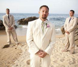 $enCountryForm.capitalKeyWord Canada - Costume Humme Marriage Summer Beach White Linen Ivory Groom Tuxedo Men Suits for Wedding Casual Bridegroom 2 Piece CY06