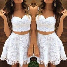 $enCountryForm.capitalKeyWord Australia - White Lace 2 Pieces Cocktail Party Dresses 2019 Spaghetti Sweetheart Short Prom Dress Graduation Dress For Juniors Formal Evening Gowns