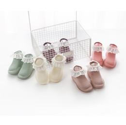 $enCountryForm.capitalKeyWord NZ - Baby socks girls lace hollow embroidery falbala princess short socks kids rubber non-slip floor socks 2019 spring baby toddler shoes F5021