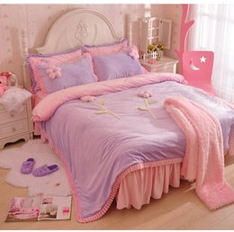 princess kids beds UK - High quality Korean Lace Princess Flannel Bedding sets 4pcs Bed sheet Duvet cover Two pillowcase for girl kids lady ropa de cama