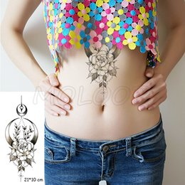 girls tattoo art Australia - Tattoo sticker moon light rose flower Crescent New Waterproof Temporary lovely planet Body Art for Girl Women Men