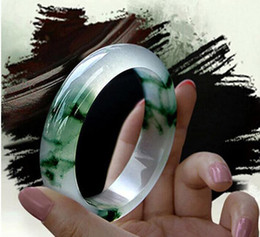 Jade bangle quality online shopping - 56 mm Fine jewelry Quality Jade Bracelet Ice Flowers Emerald Made from Natural Jade